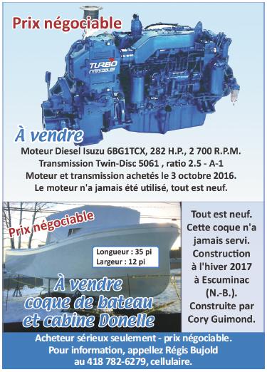 Coque de bateau et moteur à vendre - Régis Bujold