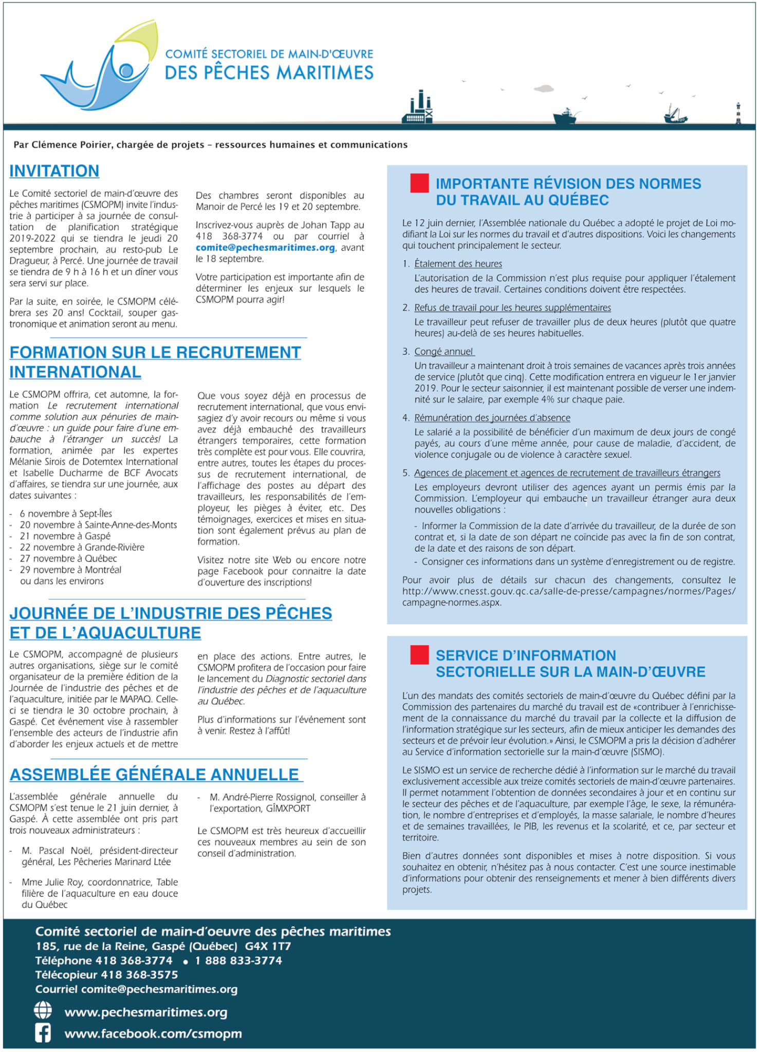Comité sectoriel de main-d'oeuvre des pêches maritimes (CSMOPM)