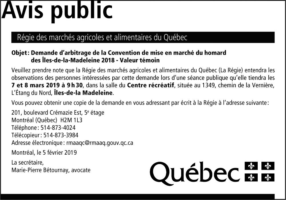 Avis public - Régie des marchés agricoles et alimentaires du Québec