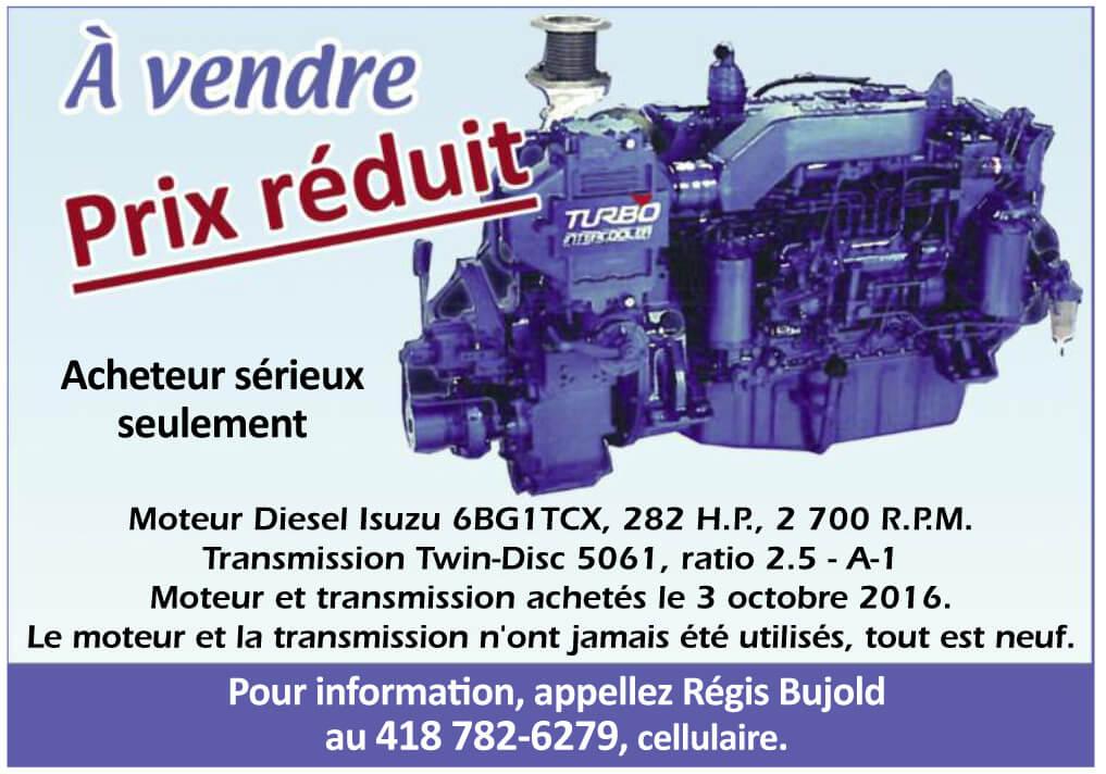 Moteur et Transmission à vendre - Régis Bujold